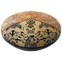 Large Round Upholstered Moroccan-Inspired Ottoman, Customizable