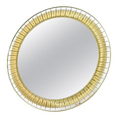 Large Round Wall Mirror by Cristal Art with Gold Engraving, Italy, 1960s