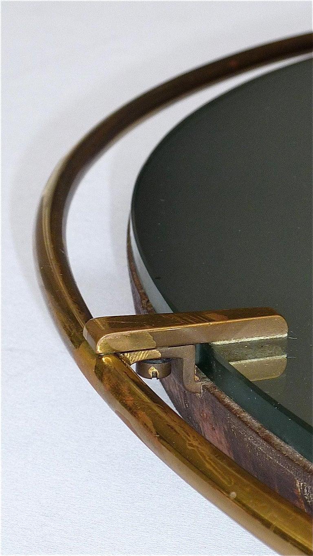 Large Round Wall Mirror Fontana Arte Gio Ponti Style Brass Glass, Italy, 1950s For Sale 3