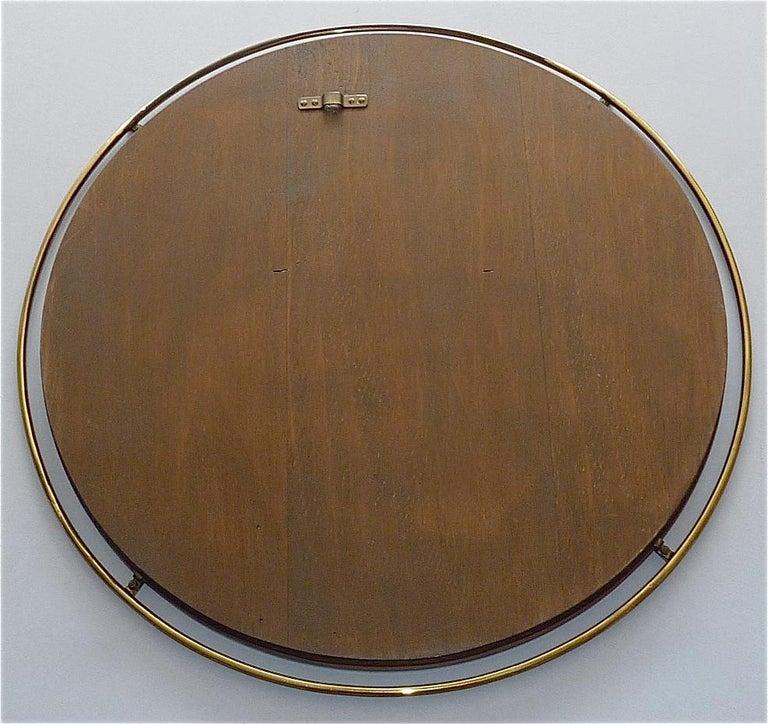 Large Round Wall Mirror Fontana Arte Gio Ponti Style Brass Glass, Italy, 1950s For Sale 5