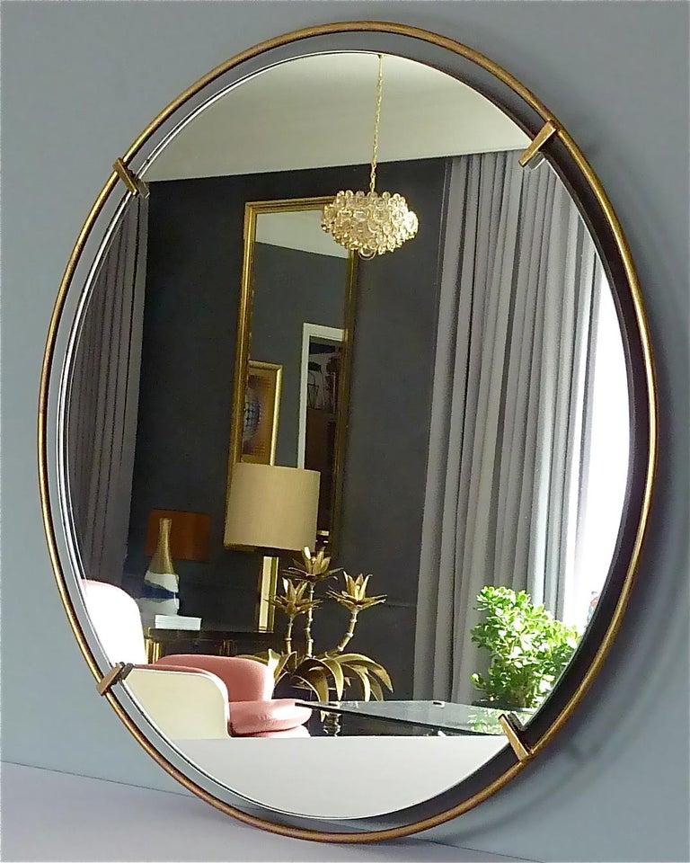 Large Round Wall Mirror Fontana Arte Gio Ponti Style Brass Glass, Italy, 1950s For Sale 6