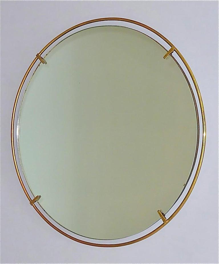 Large Round Wall Mirror Fontana Arte Gio Ponti Style Brass Glass, Italy, 1950s For Sale 7
