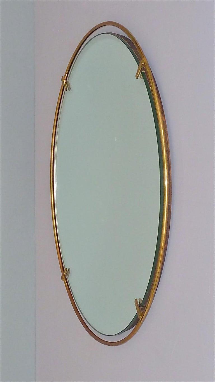 Mid-Century Modern Large Round Wall Mirror Fontana Arte Gio Ponti Style Brass Glass, Italy, 1950s For Sale