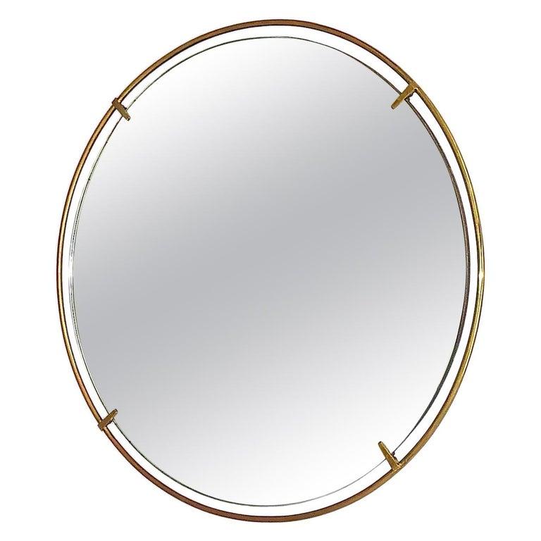 Large Round Wall Mirror Fontana Arte Gio Ponti Style Brass Glass, Italy, 1950s For Sale