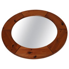 Large Round Wall Mirror in Solid Pine by Glasmäster Markaryd, Sweden, 1960