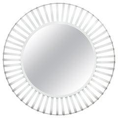 Large Round White Industrial Iron Mirror