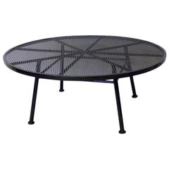 Large Round Woodard Gloss Black Wrought Iron Coffee Cocktail Table
