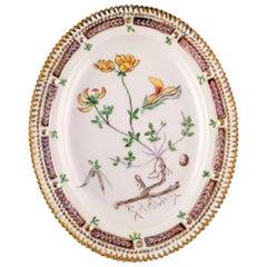 Large Royal Copenhagen Flora Danica Dish in Hand Painted Porcelain, Dated 1947