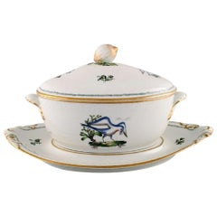 Large Royal Copenhagen Lidded Tureen with Saucer in Hand Painted Porcelain