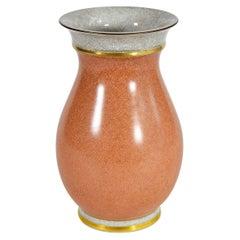 Large Royal Copenhagen Porcelain Crackle Glaze Vase with Gold Decor, Denmark