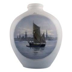 Large Royal Copenhagen Vase in Hand Painted Porcelain, Sailboat, 1920s