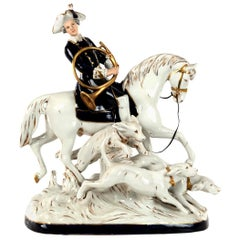 Large Royal Dux Painted Porcelain Hunting Group, circa 1950