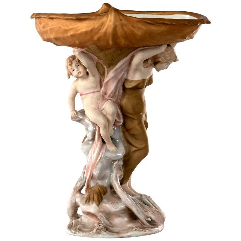 Large Royal Dux Porcelain Figural Centerpiece, circa 1950 For Sale