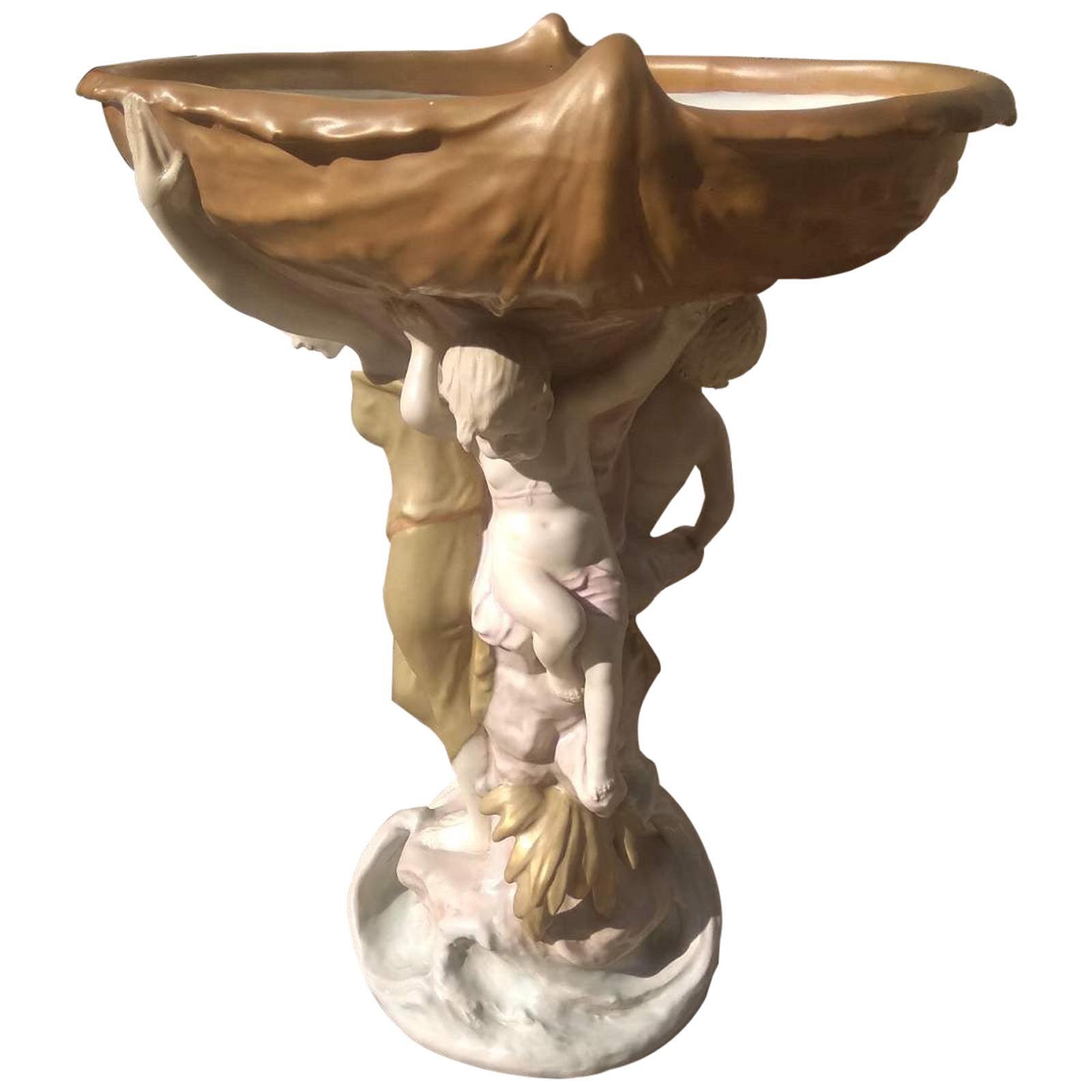Large Royal Dux Porcelain Nymph Figural Centerpiece, 1950