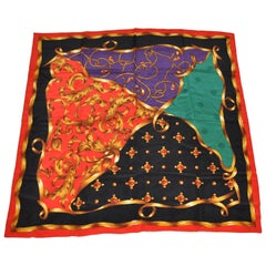 Large Royal Red Borders With Golden Accents Patterned Silk Scarf