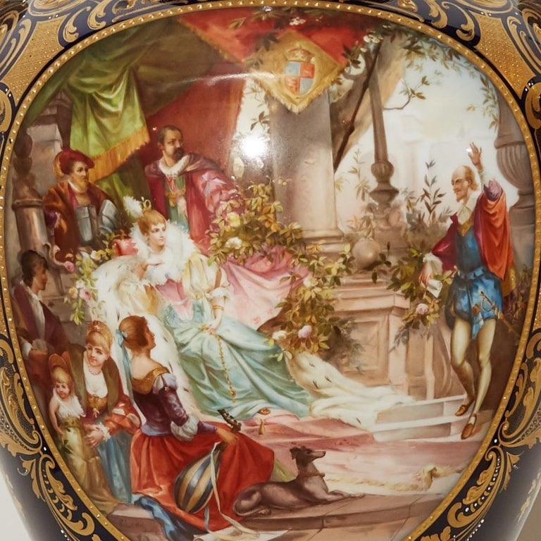 Hand-Painted Large Royal Vienna Lidded Vase with Shakespeare Scenes For Sale