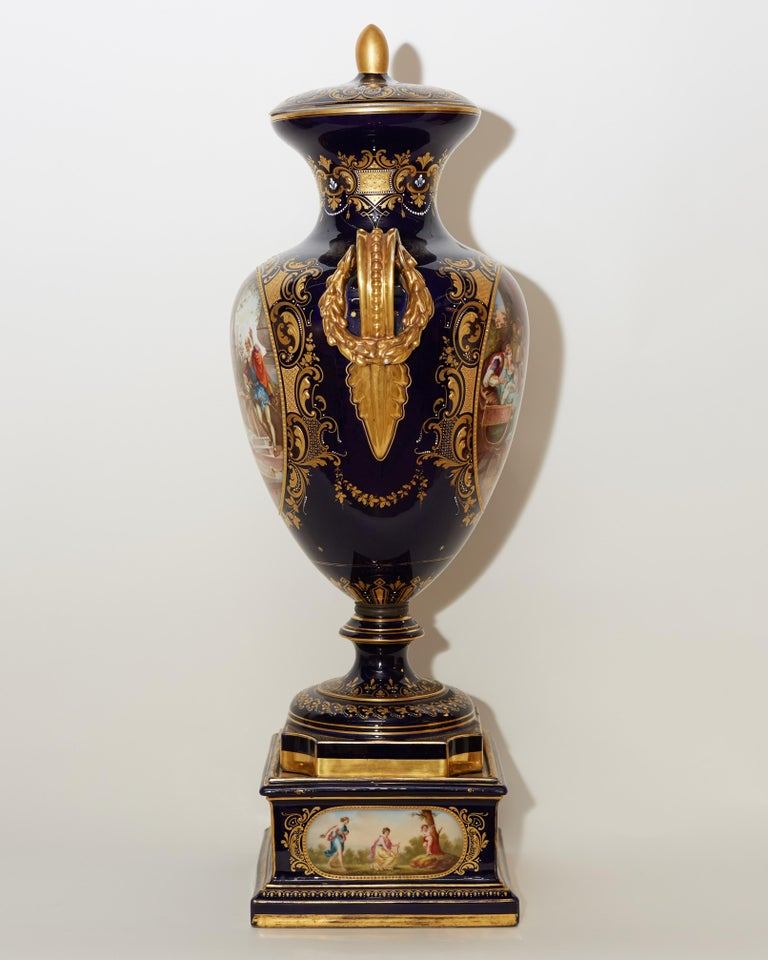 Porcelain Large Royal Vienna Lidded Vase with Shakespeare Scenes For Sale