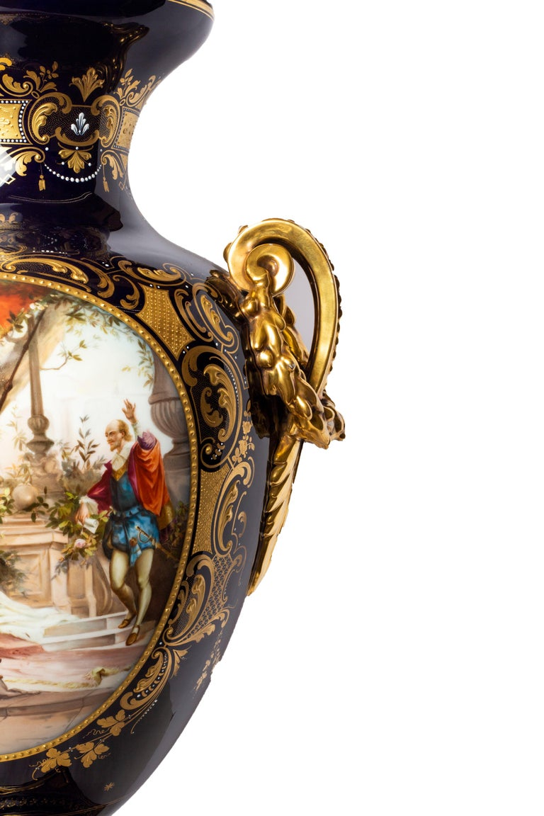 Large Royal Vienna Lidded Vase with Shakespeare Scenes For Sale 1