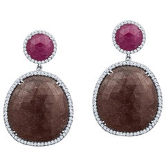 Large Ruby and Sapphire Drop Earrings with 1.80 Carat Round Diamond Halos