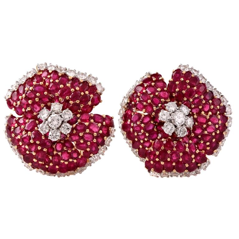 Large Ruby Diamond Gold Clip-Back 18 Karat Yellow Gold Flower Earrings For Sale