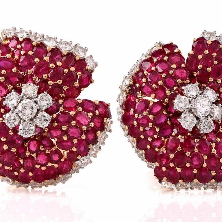 Modern Large Ruby Diamond Gold Clip-Back 18 Karat Yellow Gold Flower Earrings For Sale
