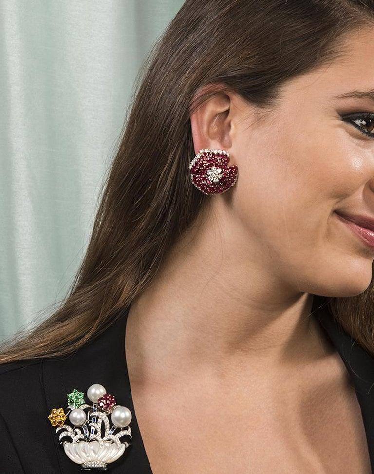 Women's Large Ruby Diamond Gold Clip-Back 18 Karat Yellow Gold Flower Earrings For Sale
