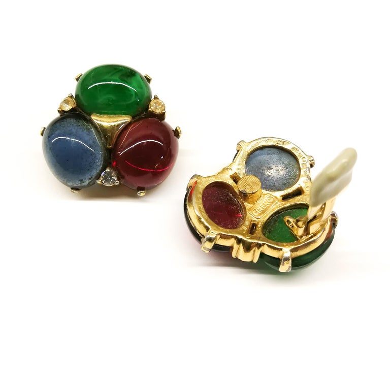 Large ruby, emerald and sapphire paste cabuchon earrings, Ciner, USA, 1980s For Sale 1