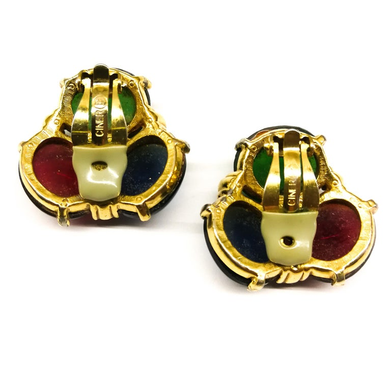Large ruby, emerald and sapphire paste cabuchon earrings, Ciner, USA, 1980s For Sale 3