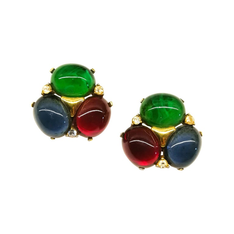 Large ruby, emerald and sapphire paste cabuchon earrings, Ciner, USA, 1980s For Sale