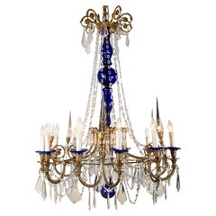 Large Russian Neoclassical Style Bronze Chandelier, circa 1900