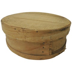 Large Rustic Bent Wood Vintage Cheese Box with Lid