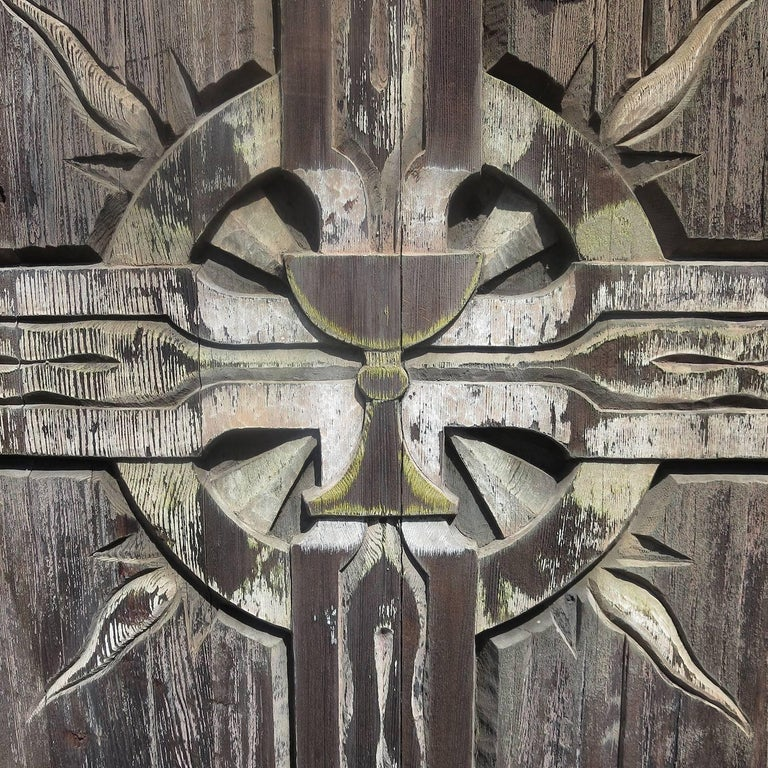 Gothic Large Rustic Carved Wooden Church Panel of Crucifix For Sale
