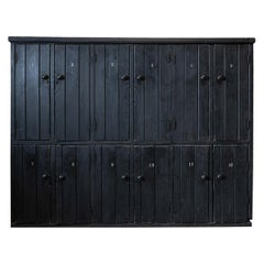 Large Rustic Ebonized 12 Door Pine Lockers