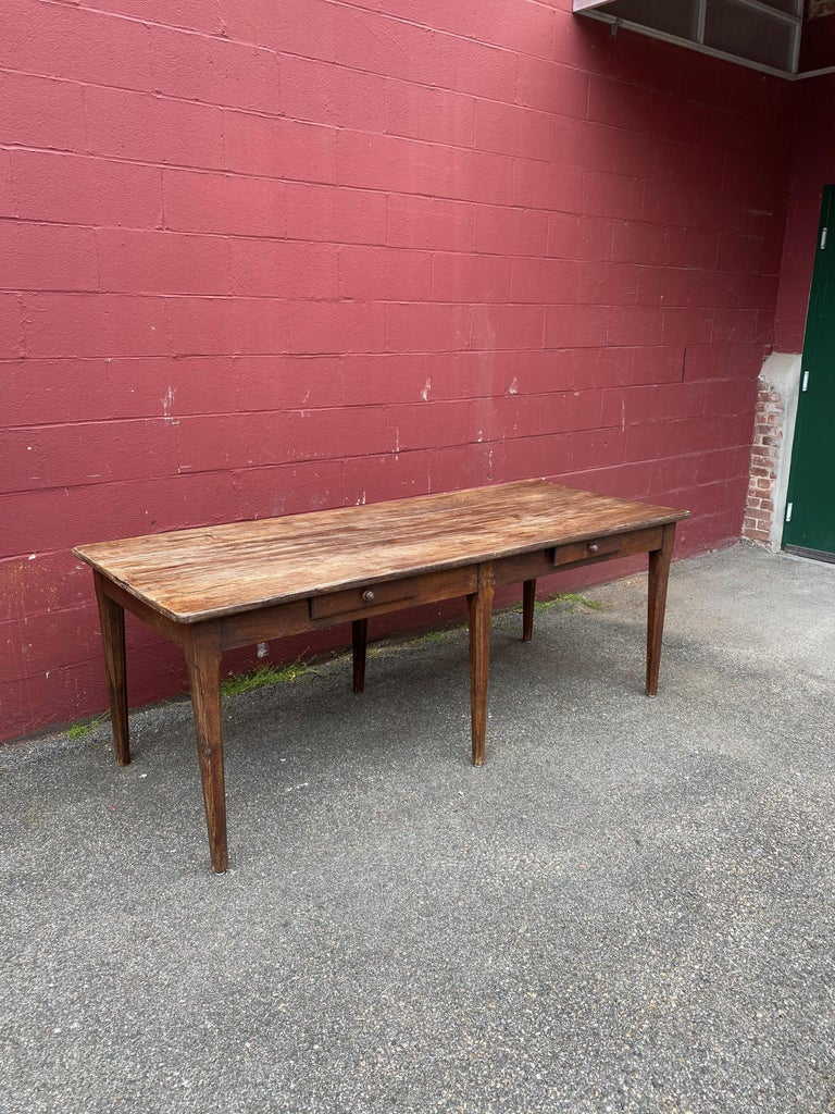 Large Rustic French Farm Table In Distressed Condition For Sale In Buchanan, NY