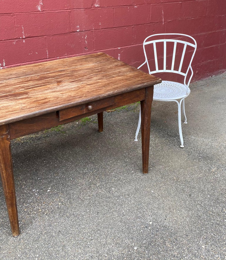 Early 20th Century Large Rustic French Farm Table For Sale