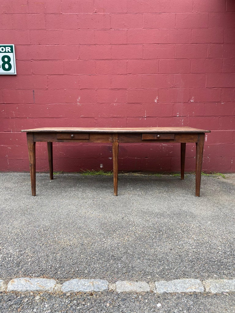 Chestnut Large Rustic French Farm Table For Sale
