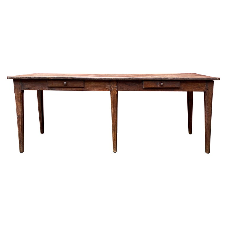 Large Rustic French Farm Table For Sale