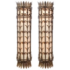Large Rustic Hand Wrought Iron Sconces, Matching Pair
