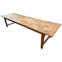 Large Rustic Pale Beech Farmhouse Table