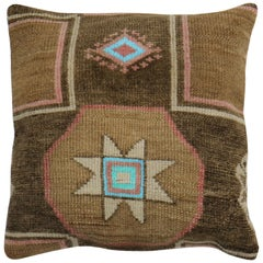 Large Rustic Square Size Turkish Rug Pillow