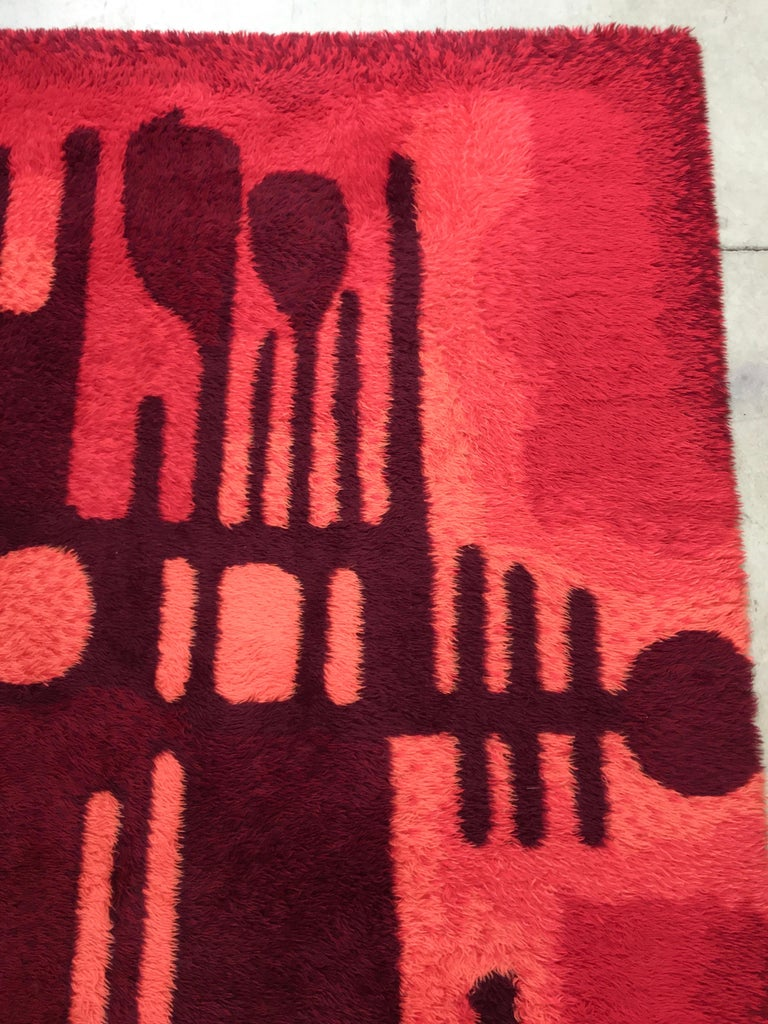 Large Rya Rug by Ege Taeppper, Denmark In Good Condition In Hingham, MA