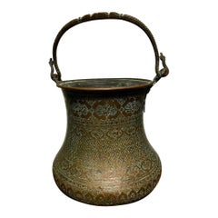 Large Safavid Etched Copper Bucket, Persia, 17th Century