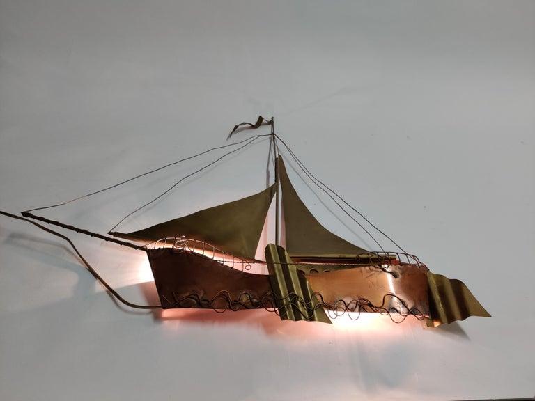 Large Sailing Ship Wall Light Sculpture by the Belgian Artist Daniël Dhaeseleer For Sale 5