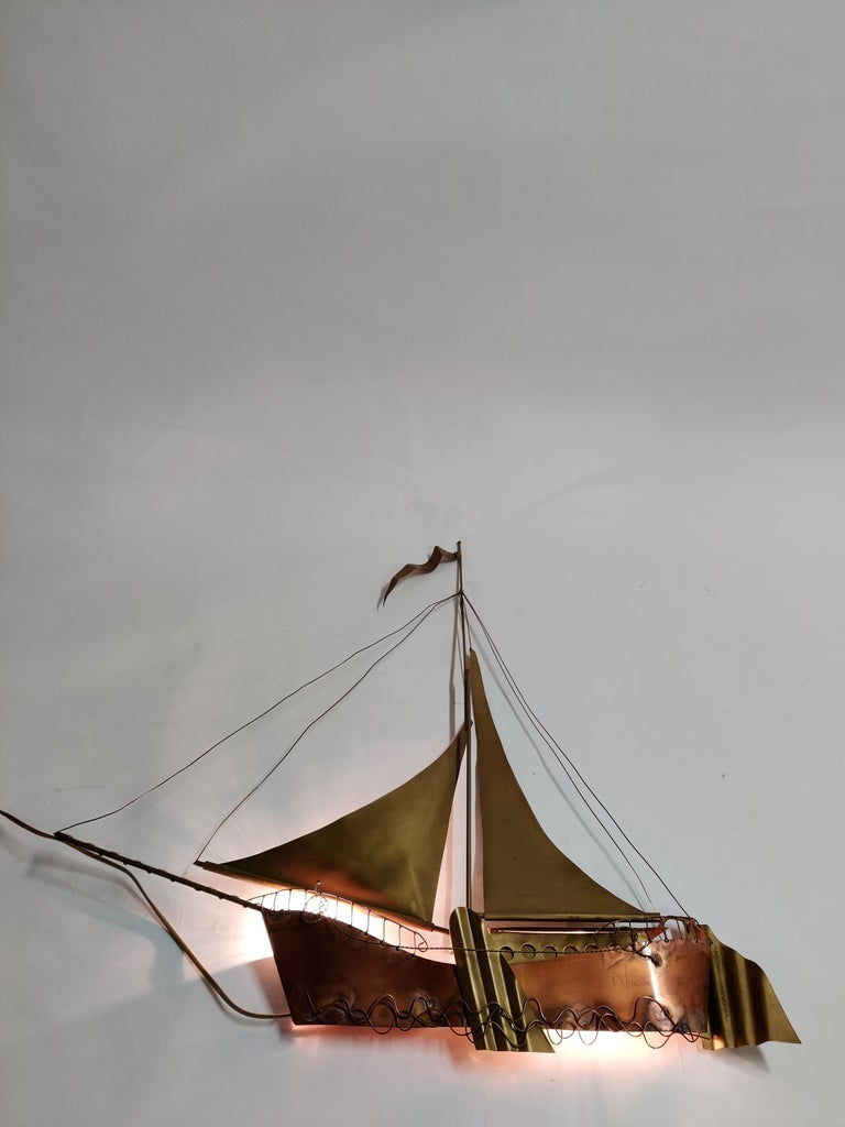 Large Sailing Ship Wall Light Sculpture by the Belgian Artist Daniël Dhaeseleer In Good Condition For Sale In Ottenburg, BE