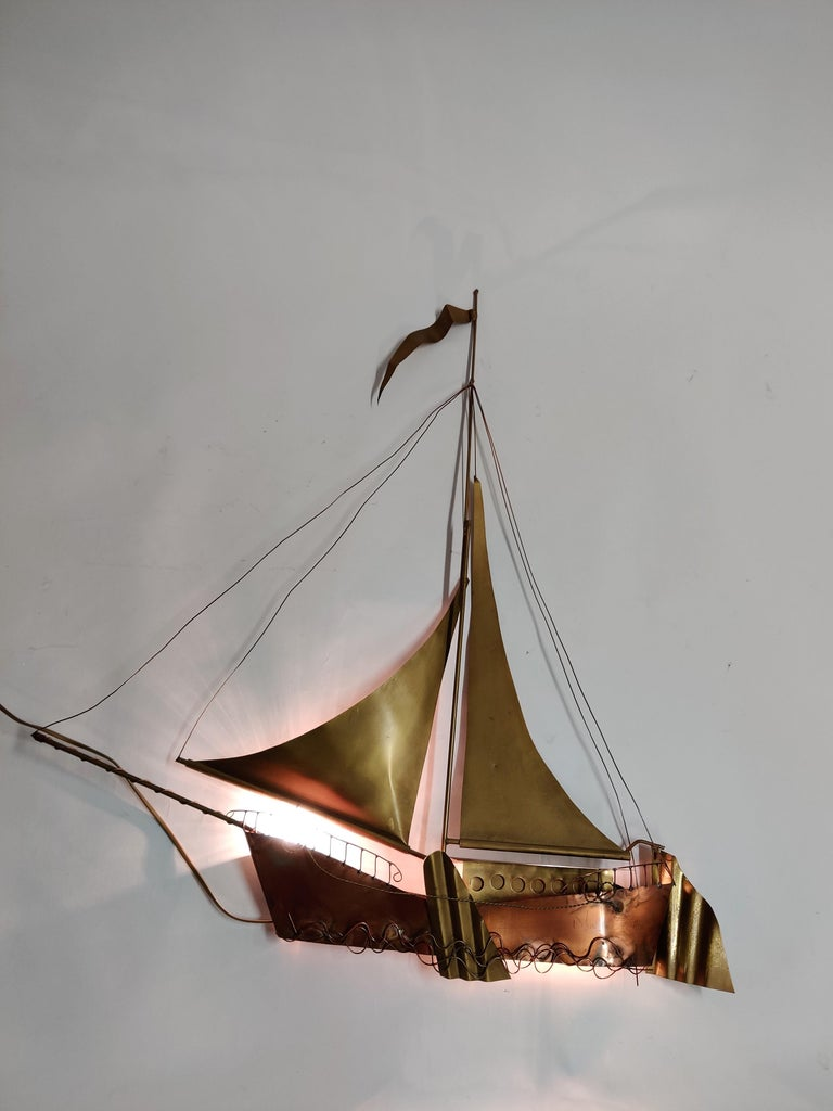 Late 20th Century Large Sailing Ship Wall Light Sculpture by the Belgian Artist Daniël Dhaeseleer For Sale