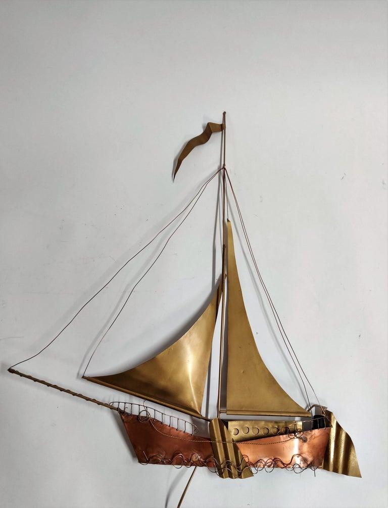 Metal Large Sailing Ship Wall Light Sculpture by the Belgian Artist Daniël Dhaeseleer For Sale