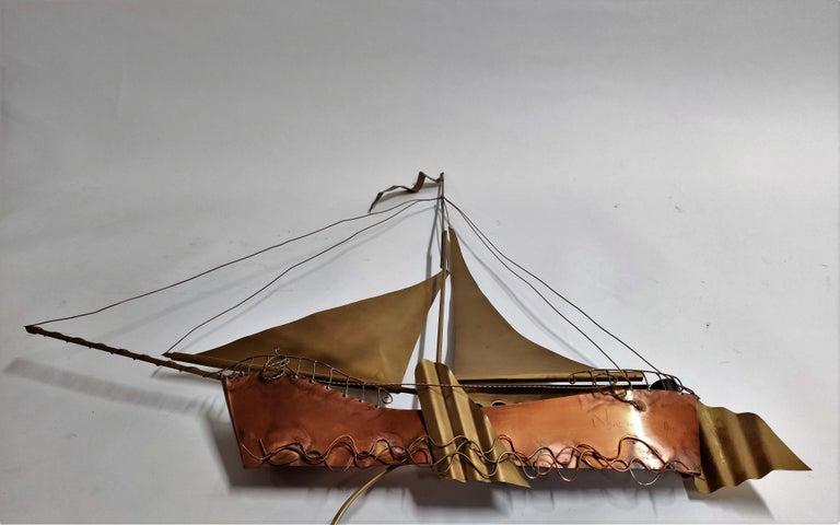 Large Sailing Ship Wall Light Sculpture by the Belgian Artist Daniël Dhaeseleer For Sale 1