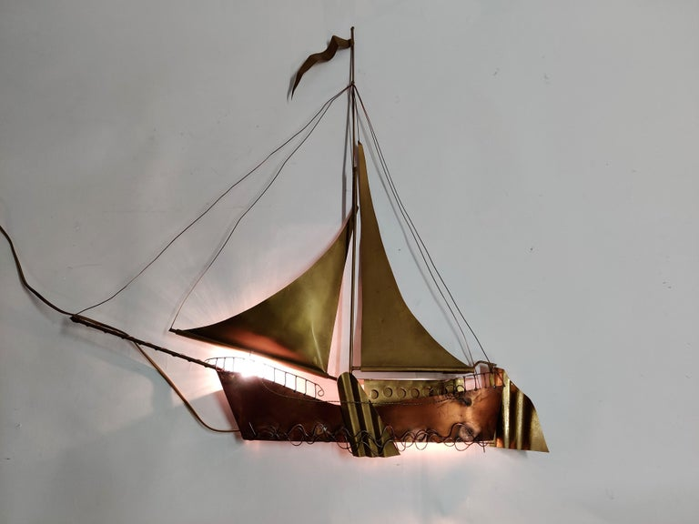 Large Sailing Ship Wall Light Sculpture by the Belgian Artist Daniël Dhaeseleer For Sale 2