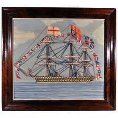 Large Sailor's Woolwork of a Fully Dressed Royal Navy Battleship- HMS Victoria.