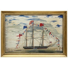 Large Sailor's Woolwork or Woolie of a Fully Dressed Royal Navy Frigate